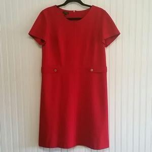Talbots Red Hot Faux Belt Dress